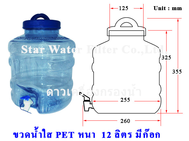 ขวดน้ำดื่ม-หนา มีก๊อก 12 ลิตร หน้าร้านขวดละ 170 บาท (ราคารวมค่าขนส่ง TP 320 บาท)