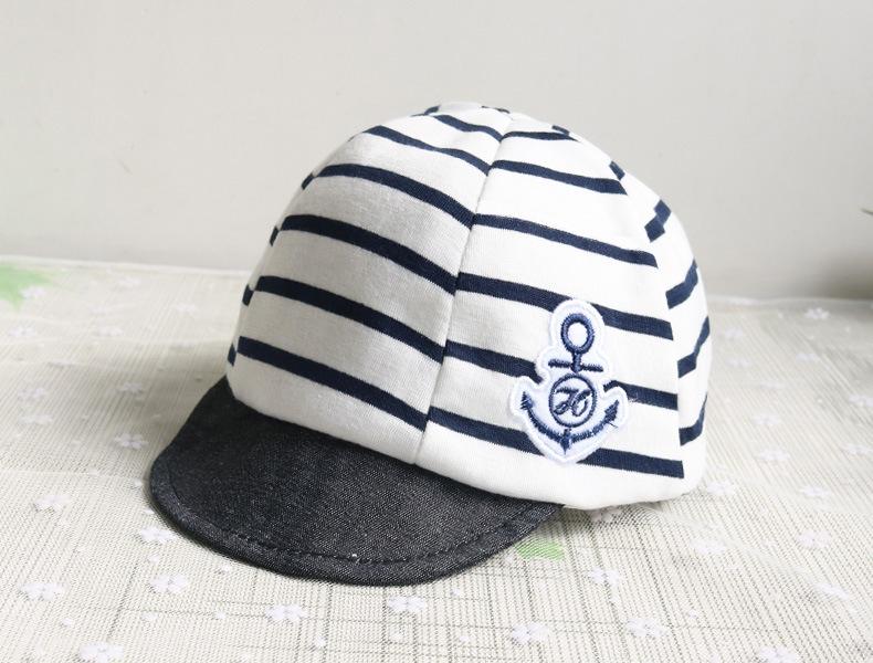 หมวกแก๊ปสีขาวดำลายขวาง ติดตาสมอ สำหรับเด็ก 1-6เดือน น่ารักมากๆค่ะ