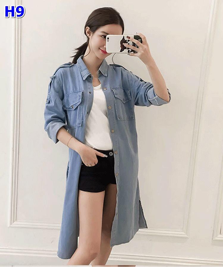 #เสื้อแจ็คเก็ตยีนส์ ใหม่แฟชั่นเกาหลี ใส่เก๋ไก๋คู่กับเสื้อยืดหรือใส่ชิวๆ แขนยาวสไตล์คาวบอย เหมาะสำหรับคุณแม่ตัวเล็ก