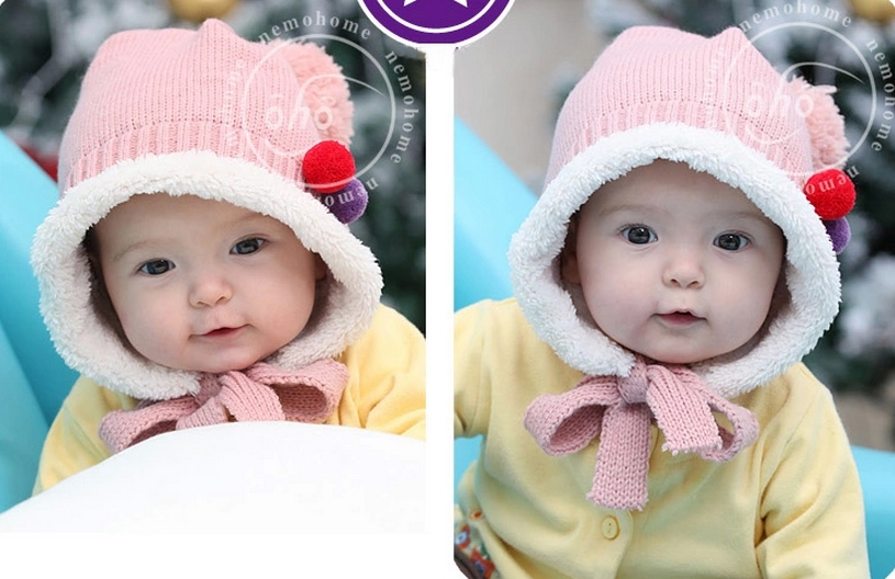 หมวกอุ่นกันหนาว น่ารัก สำหรับเด็ก 3-24เดือน มีสีชมพูกับสัแตงโม