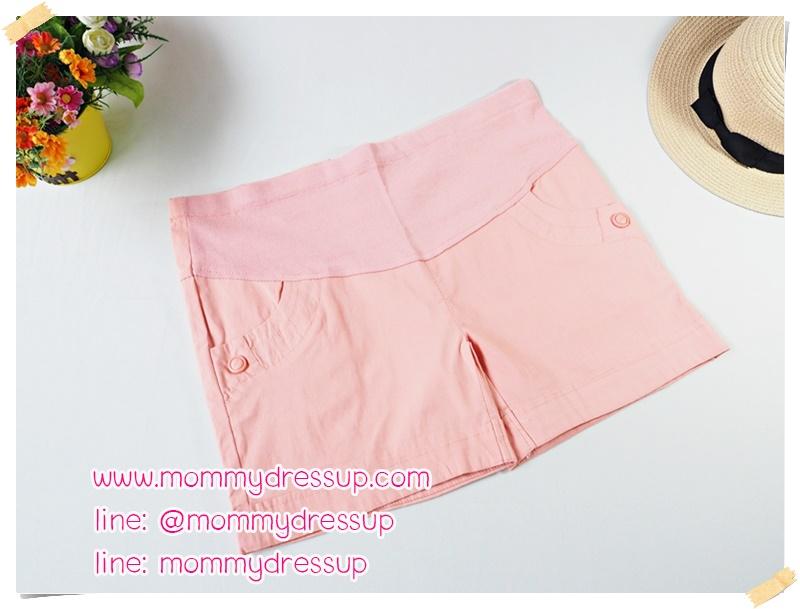 กางเกงขาสั้นสีชมพูอ่อน กระดุมเม็ดใหญ่ 1 เม็ด ผ้านิ่มใส่สบายค่ะ เอวปรับระดับได้