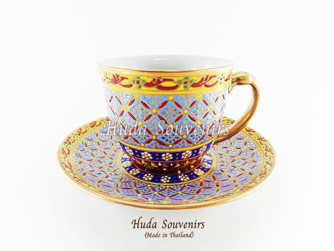 ของที่ระลึก แก้วกาแฟเบญจรงค์ ทรงกลม ลวดลายหยดน้ำ โทนสีฟ้า ลายเนื้อนูนเคลือบผิวด้าน สินค้าพร้อมส่ง (ราคาไม่รวมกล่อง)