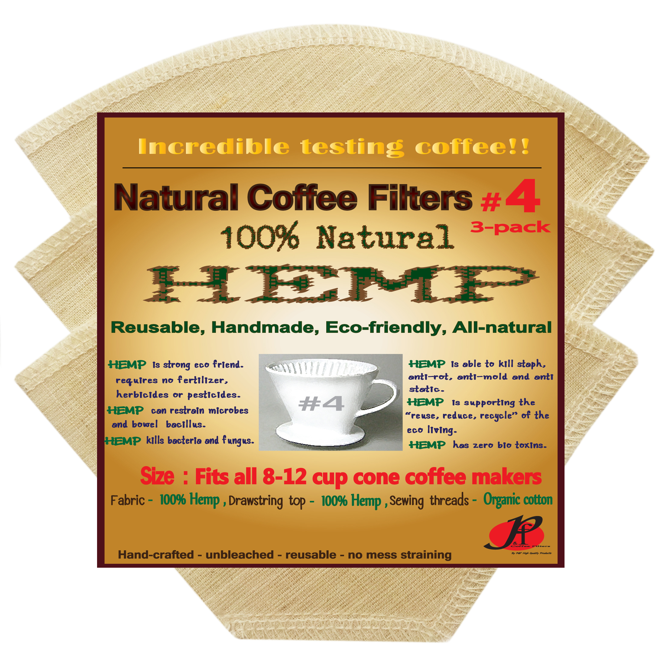 P&F(3 pack)Natural Reusable Cone Coffee Filters #4 Melitta Style, No Harmful Chemical, All Natural