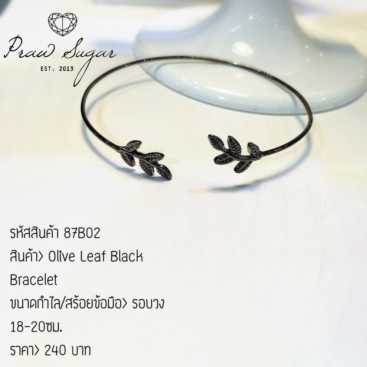 Olive Leaf Black Bracelet