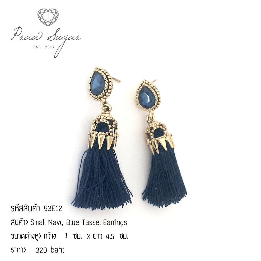 Small Navy Blue Tassel Earrings