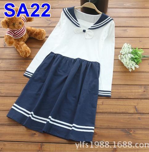 #Dressกระโปรง ผ้าฝ้ายสีขาวกรม คอปกทหารเรือ แขนยาว รูปทรงร่ารักมากๆคะ