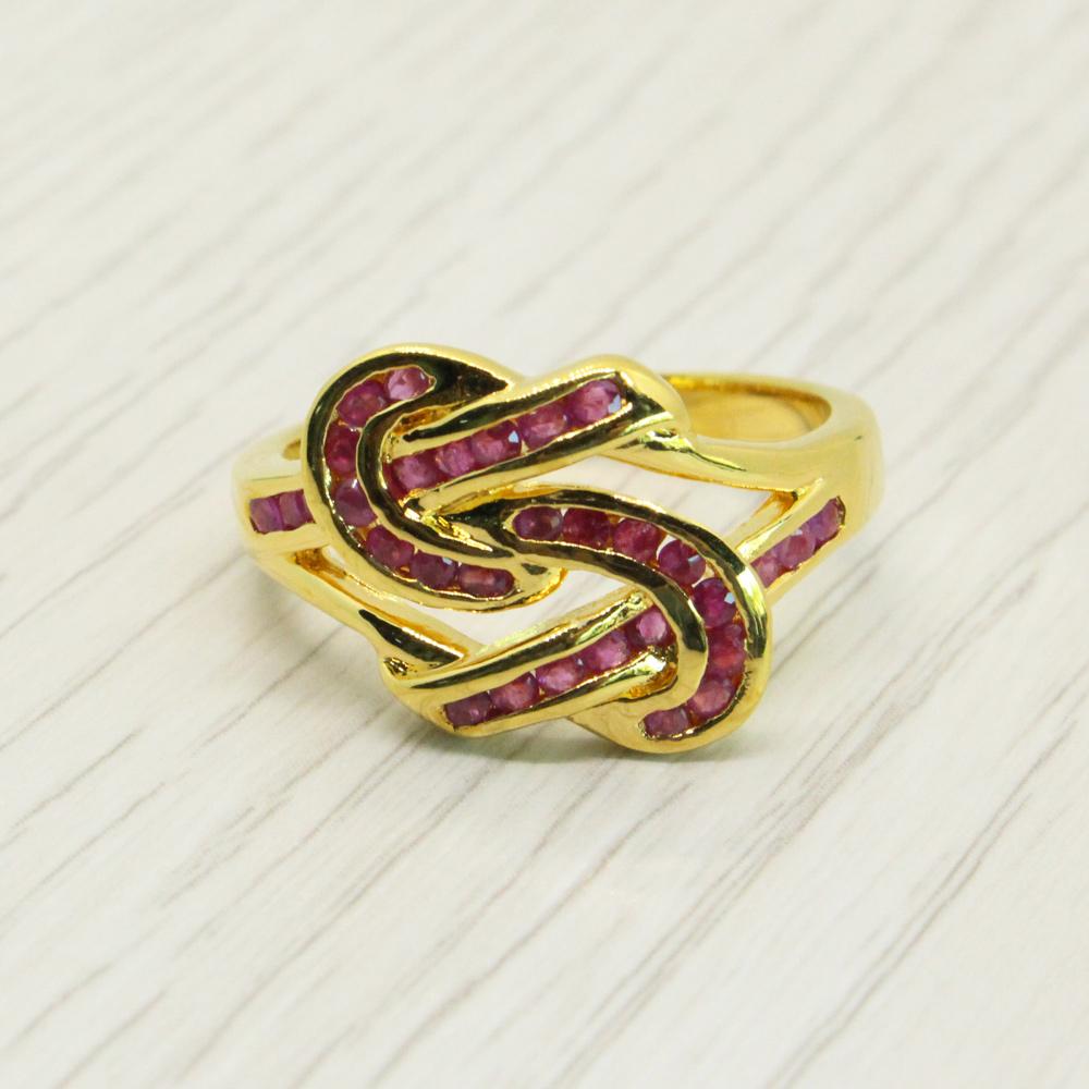 แหวนพลอยทับทิมแท้ หุ้มทองคำแท้ ไซส์ 56