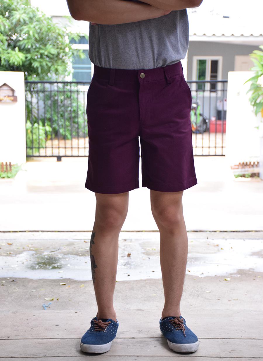 กางเกงขาสั้น สีม่วงเข้ม