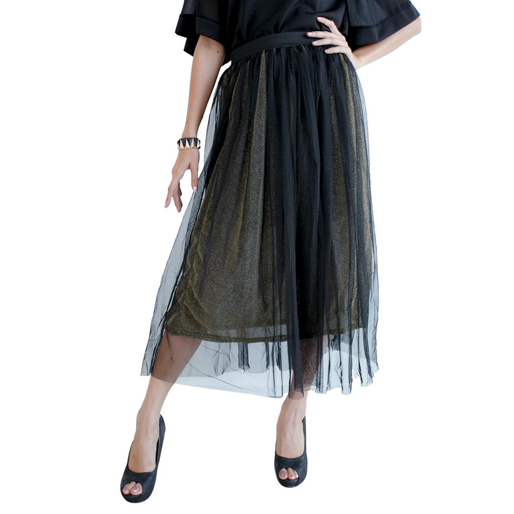 Mirror Dress's Golden Net Layered Skirt