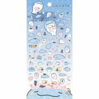 สติ๊กเกอร์ Jinbei-san สีฟ้า