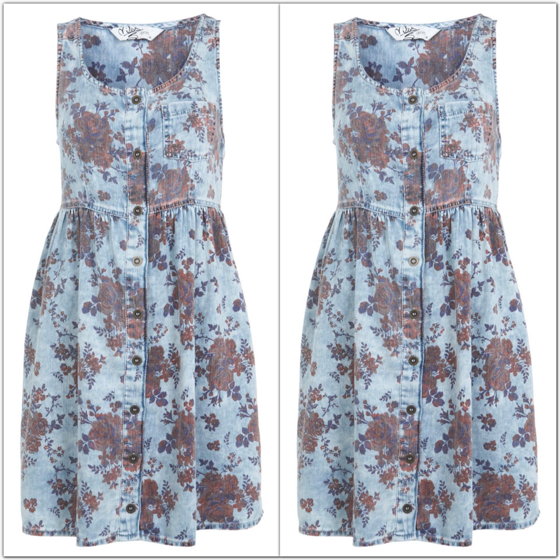 Miss Selfridge Floral Denim Dress size uk8=1 uk10=1 uk12=1