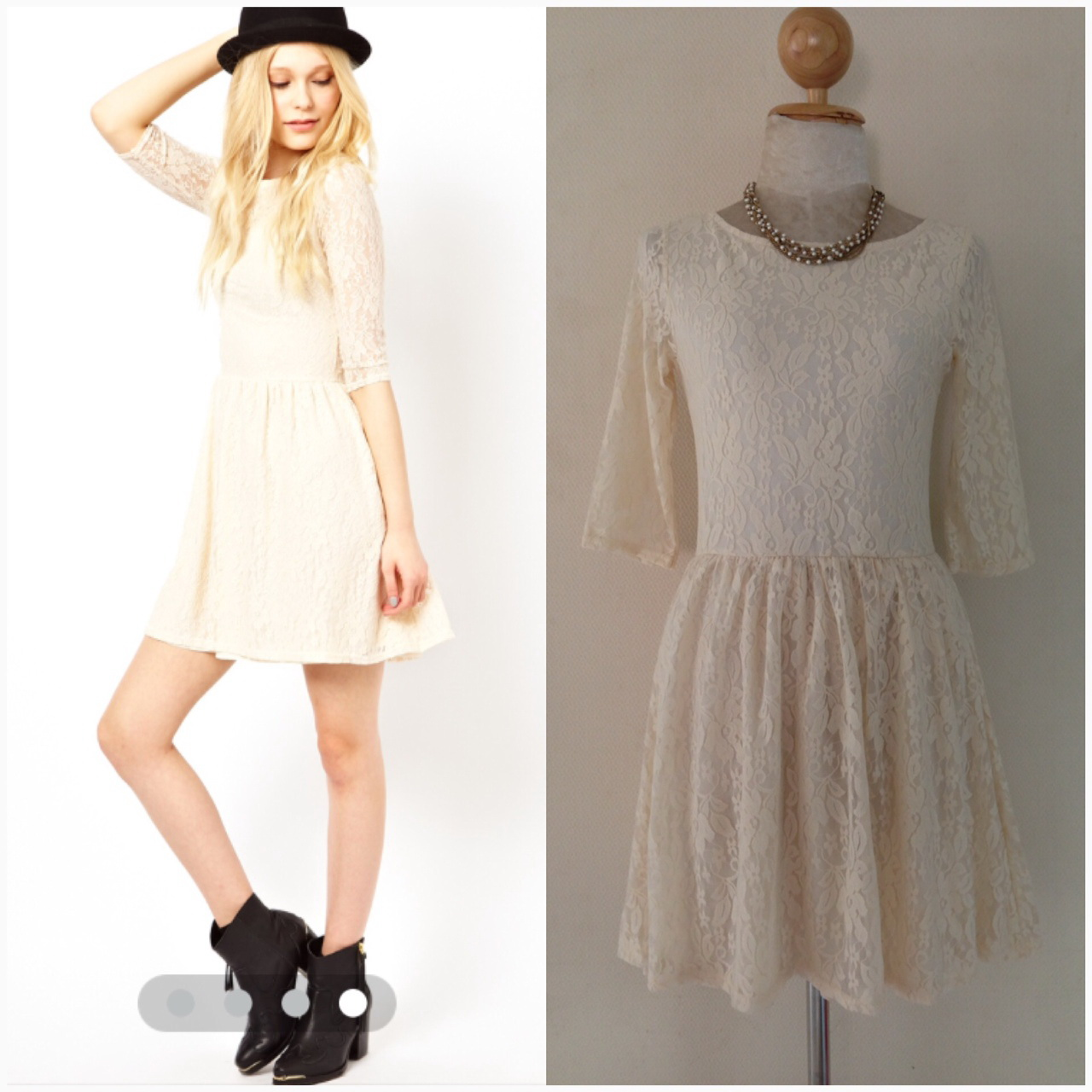 Riverisland Lace Cream Dress Size Uk8