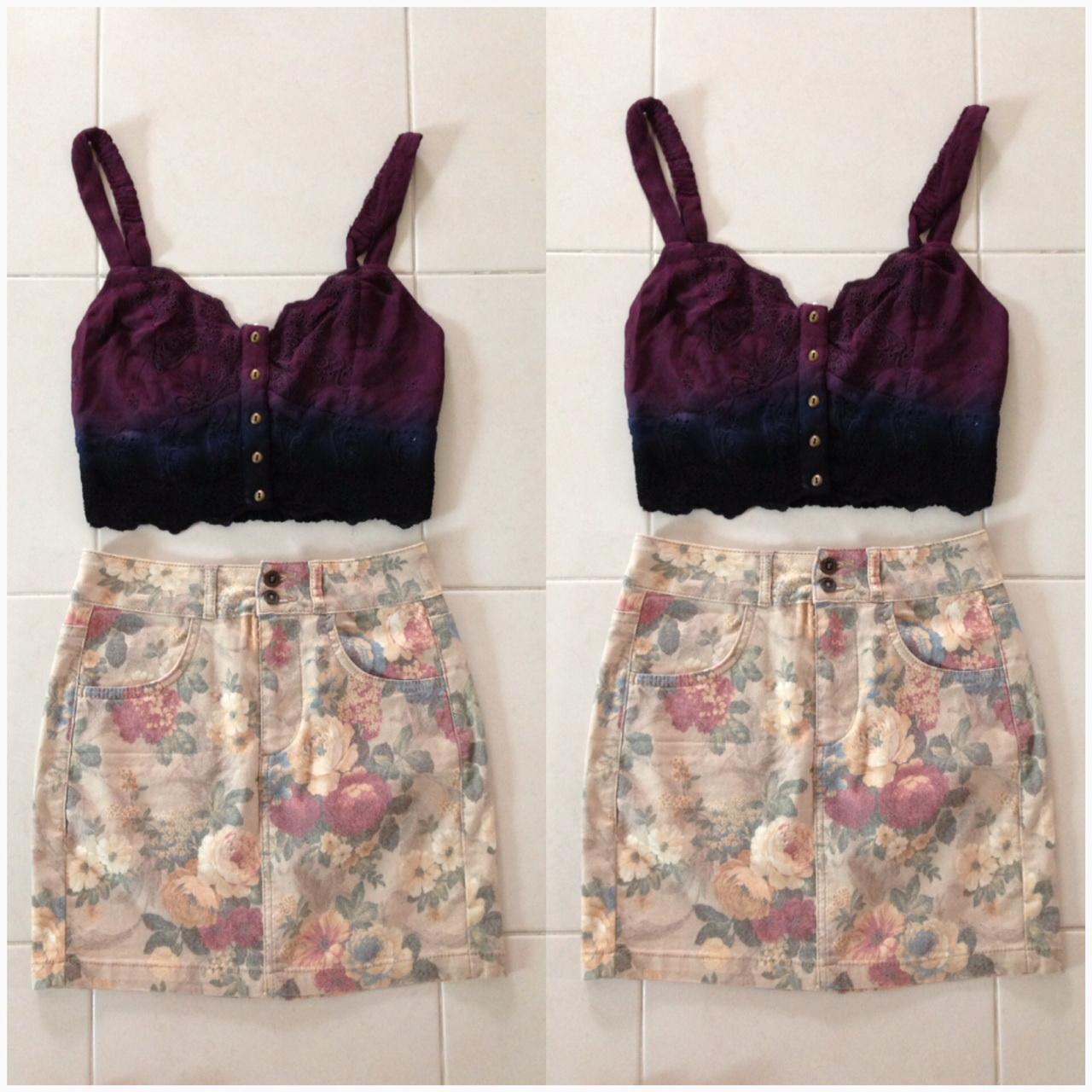 Topshop Floral Denim Skirt Size UK8