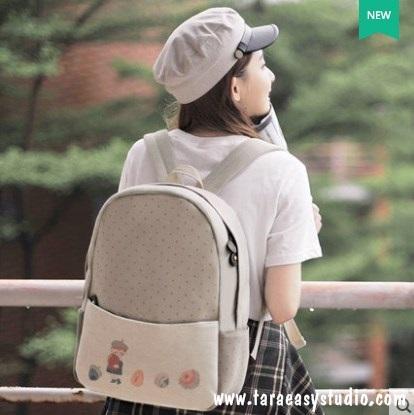 กระเป๋าเป้ยี่ห้อ Super Lover Mori ภาพวาดการ์ตูนน่ารักเกาหลี (Preorder)
