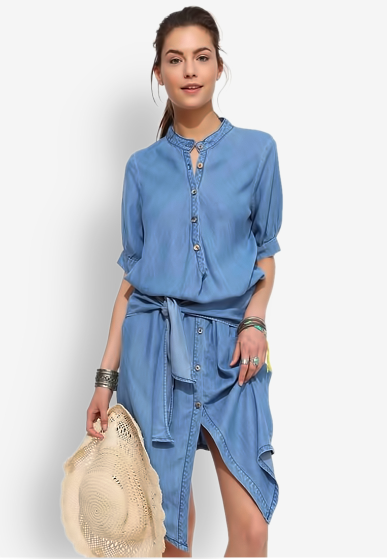 ชุดเดรส Collar with Waist Folds Denim
