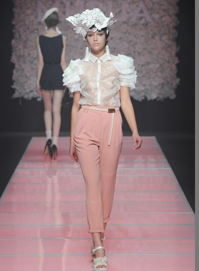 กางเกงขายาว ผ้าฝ้าย ผสม Polyester สีชมพู Size M,L